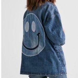 Lucky Brand Denim Jean Smiley face Kimino Jacketxs
